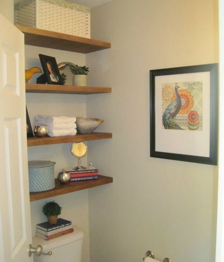 s 11 space saving hacks for your tiny bathroom, bathroom ideas, Build floating shelves for more storage