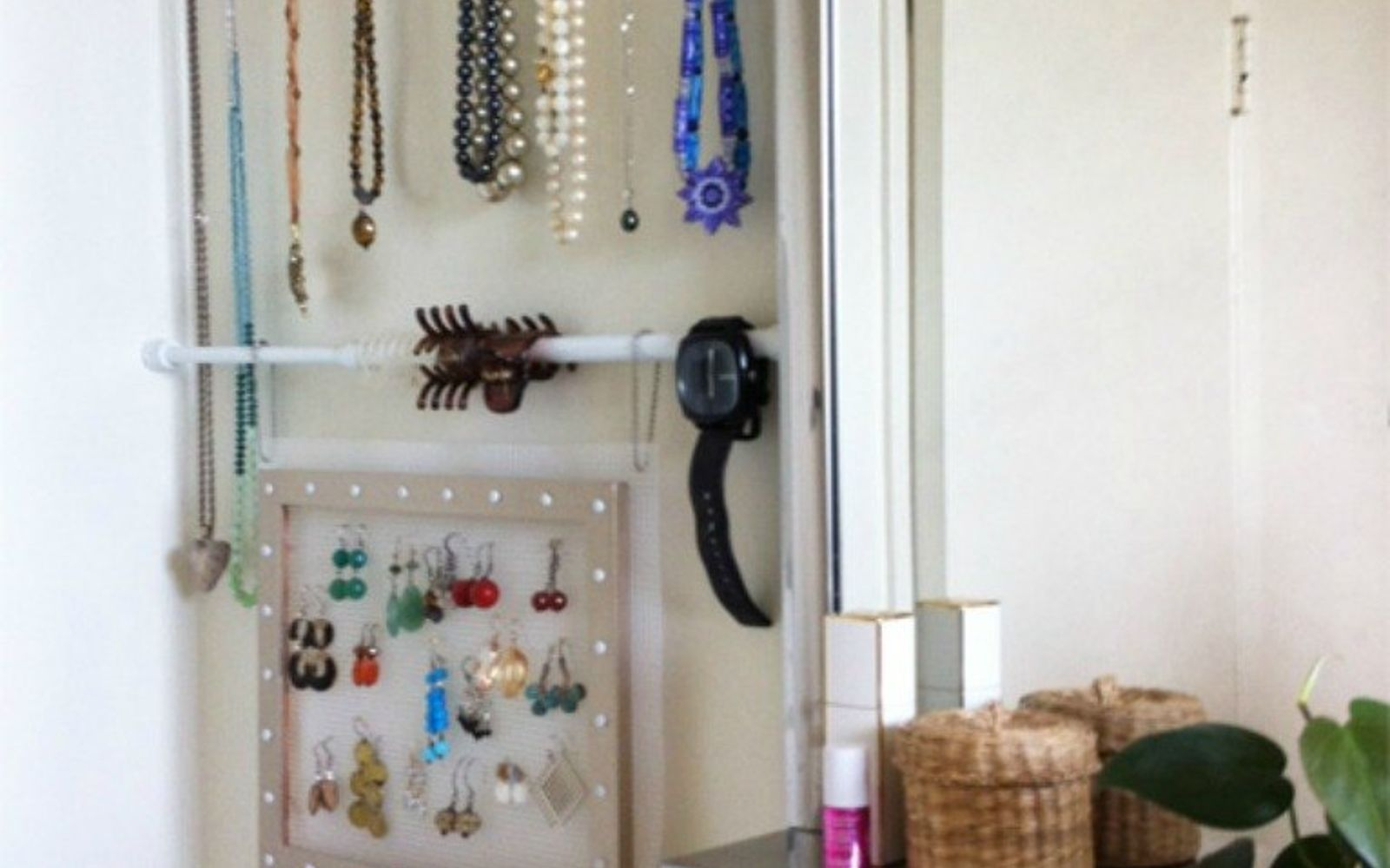very small bathroom storage ideas. hang tension rods in place of a jewelry box very small bathroom storage ideas