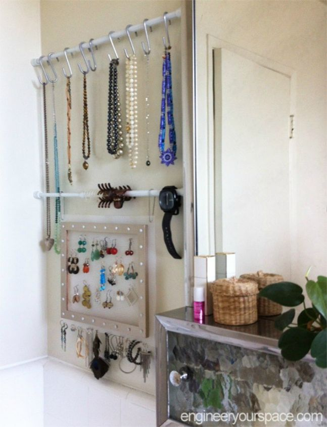 s 11 space saving hacks for your tiny bathroom, bathroom ideas, Hang tension rods in place of a jewelry box