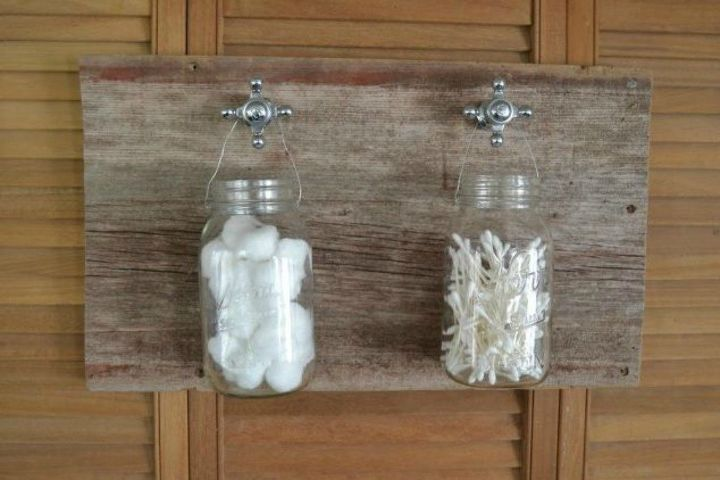 s 11 space saving hacks for your tiny bathroom, bathroom ideas, Make a hanging organizer out of mason jars