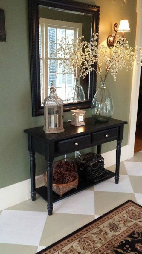 s impress your guests with these expensive looking entryway ideas, Paint your dingy wood into beautiful tiles