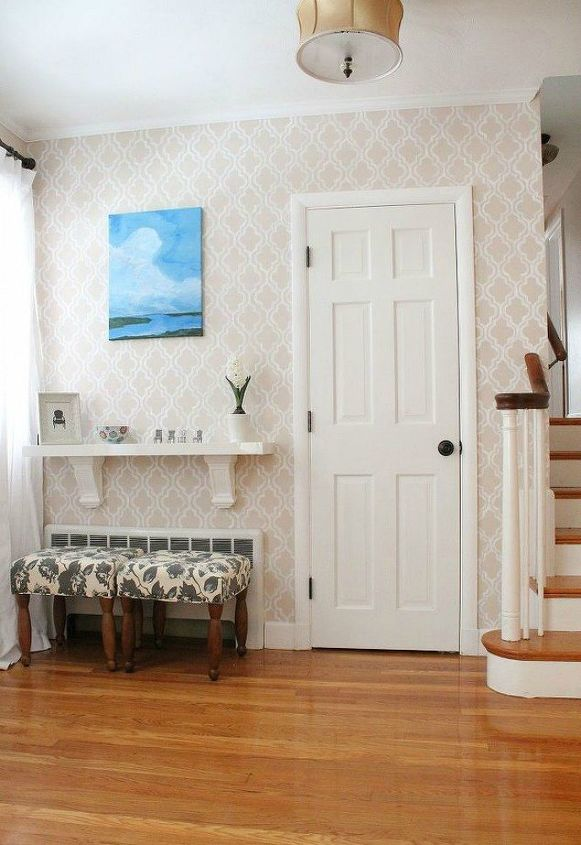 s impress your guests with these expensive looking entryway ideas, Add a stenciled wall for some character
