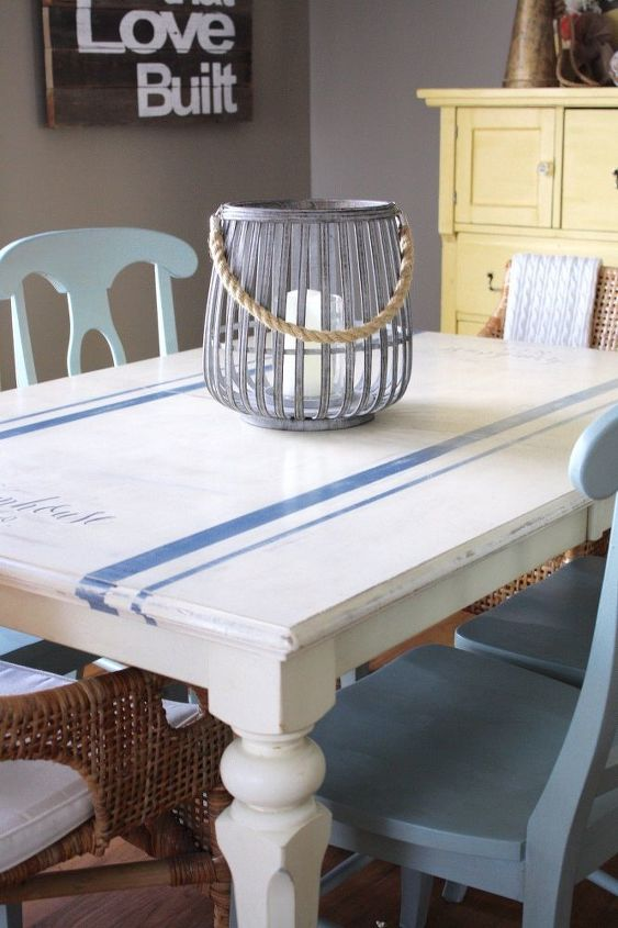 grain sack dining table, dining room ideas, home decor, painted furniture, rustic furniture