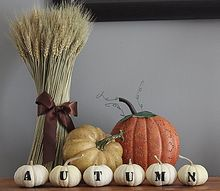 autumn spelled out on tiny white pumpkins, crafts, seasonal holiday decor