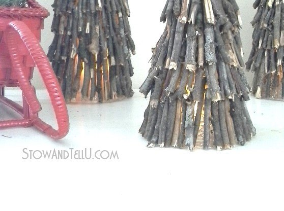Twig And Plastic Cup Christmas Trees Luminaries
