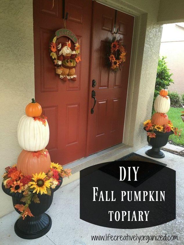 elegant diy fall pumpkin topiary, crafts, seasonal holiday decor, Fall decorating with pumpkin topiaries