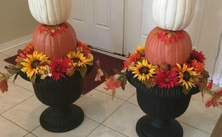 elegant diy fall pumpkin topiary, crafts, seasonal holiday decor, Finished pumpkin topiaries