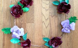 repurpose beer can flower and leaf wreath, crafts, home decor, wreaths