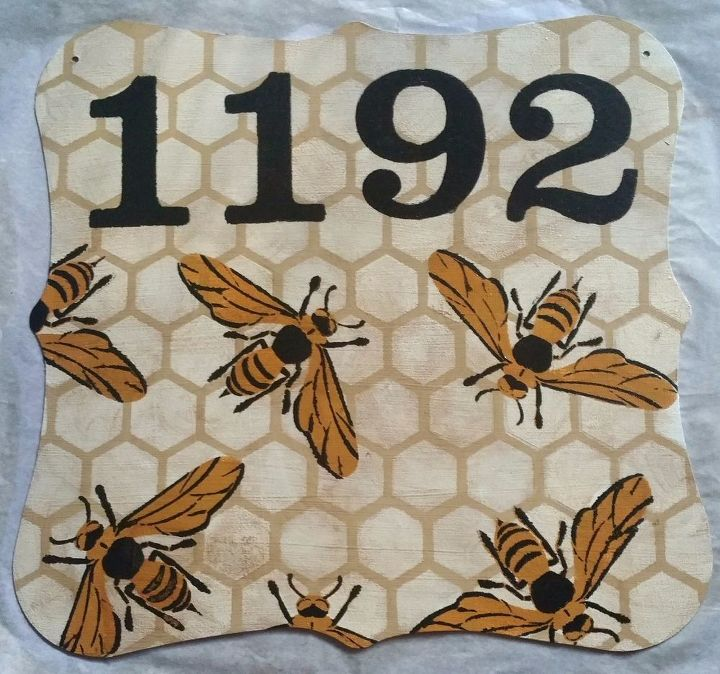 Honey Bee House Number Home Decor