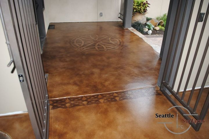 front porch micro topping with stencil and stain, concrete masonry, flooring