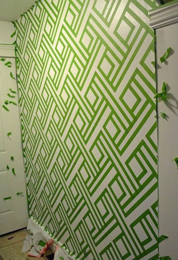 s 13 ways you never thought of using painter s tape in your home, home decor, painting, Use it to make a complicated geometric wall
