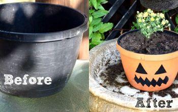 Almost Free DIY Pumpkin Planter (Jack O Lantern Planter)