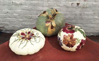 foliage pumpkins, crafts, decoupage, flowers, how to, seasonal holiday decor