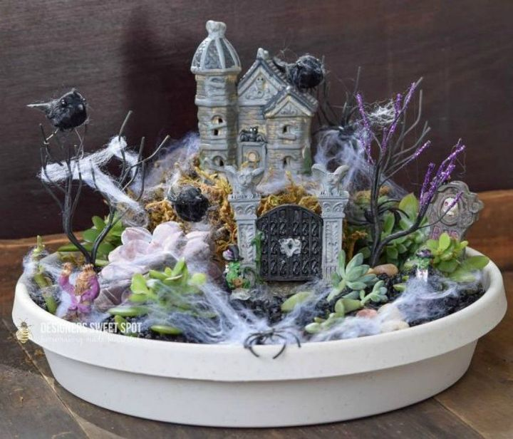 s make your neighbors giggle with these 9 halloween fairy garden ideas, gardening, halloween decorations, seasonal holiday decor, Place some spiderwebs around for a foggy look