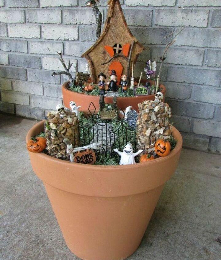 s make your neighbors giggle with these 9 halloween fairy garden ideas, gardening, halloween decorations, seasonal holiday decor, Turn a birdhouse into a Halloween house