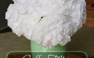 coffee filter peonies, flowers, gardening, painted furniture