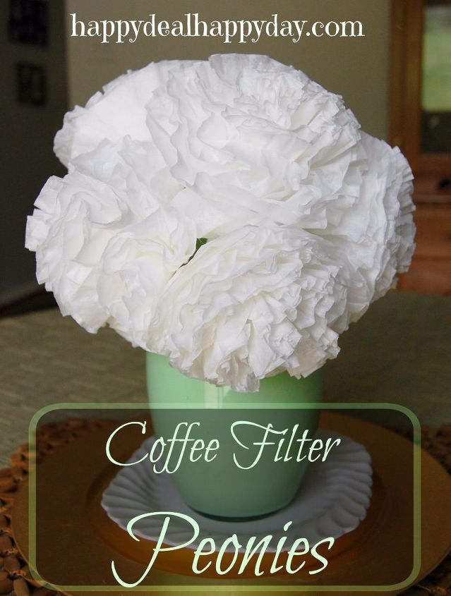 coffee filter peonies, flowers, gardening, painted furniture