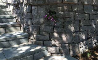custom stone masonry, concrete masonry, landscape, Basalt Wall and Bluestone Steps