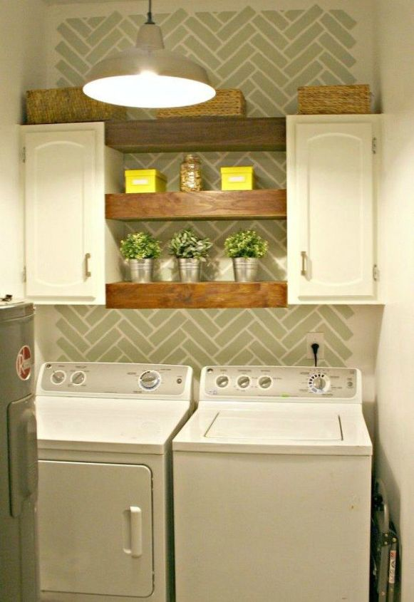 s 10 space saving hacks for your small laundry room, laundry rooms, Install two cabinets with shelves in between