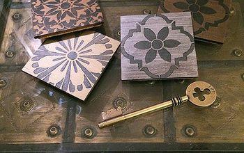 diy stenciled coasters metallic dramatic , crafts