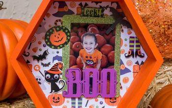 halloween pumpkin shadowbox, halloween decorations, seasonal holiday decor