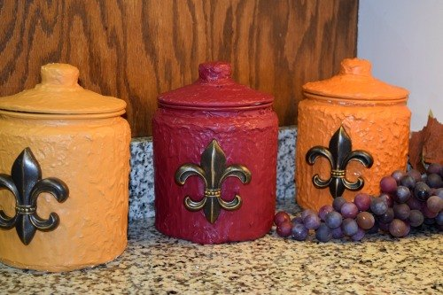 old world style fall kitchen canisters, crafts, kitchen design