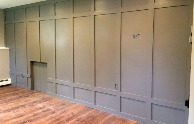 diy paneled wall, basement ideas