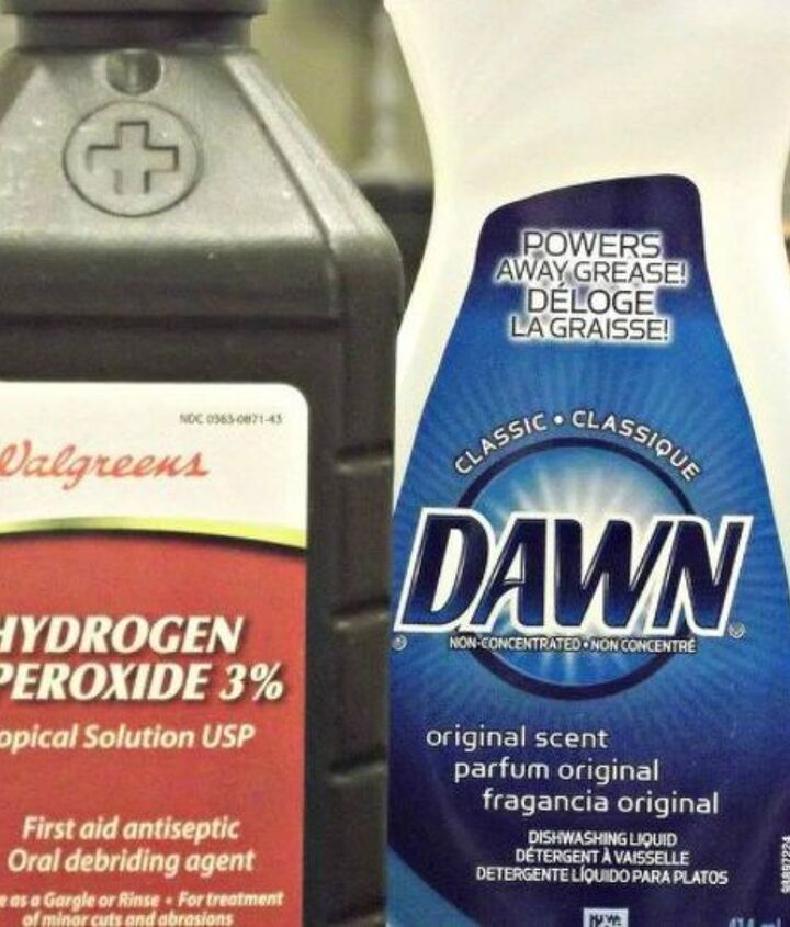 s the ultimate list of brilliant stain removal tricks, The solution Hydrogen peroxide and Dawn