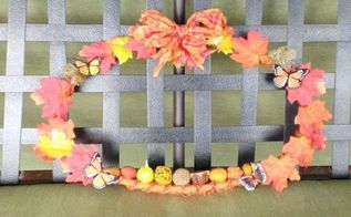 oval embroidery hoop fall wreath, crafts, home decor, repurposing upcycling, wreaths