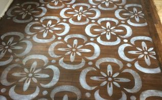 stenciled hardwood floor stencil made with sihouette cameo , flooring, hardwood floors, home improvement, painting