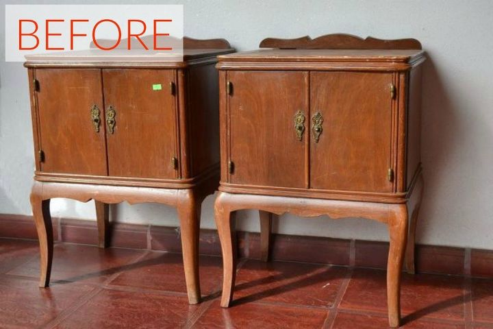 s 9 expensive looking furniture flips using cheap appliques, painted furniture, Before Delicate nightstands that look dated