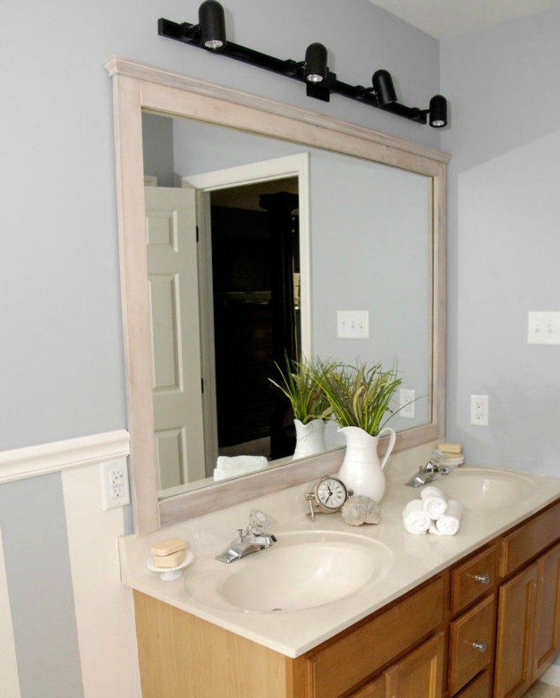 10 stunning ways to transform your bathroom mirror without glue on molding for a decorative frame amipublicfo Gallery
