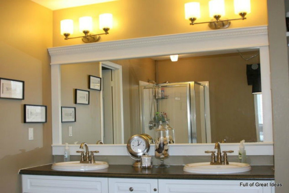 use cheap mdf molding for a saw free solution - Bathroom Ideas Mirrors