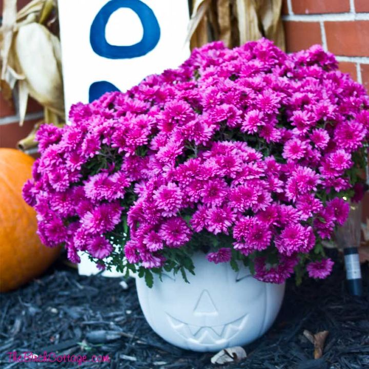 wondering what to do with those store bought plastic pumpkins , chalk paint, crafts, doors, gardening, halloween decorations, outdoor living, painting, ponds water features, repurposing upcycling, seasonal holiday decor, woodworking projects