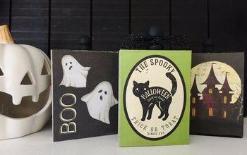 crackle painted wood halloween decor, halloween decorations, home decor, seasonal holiday decor