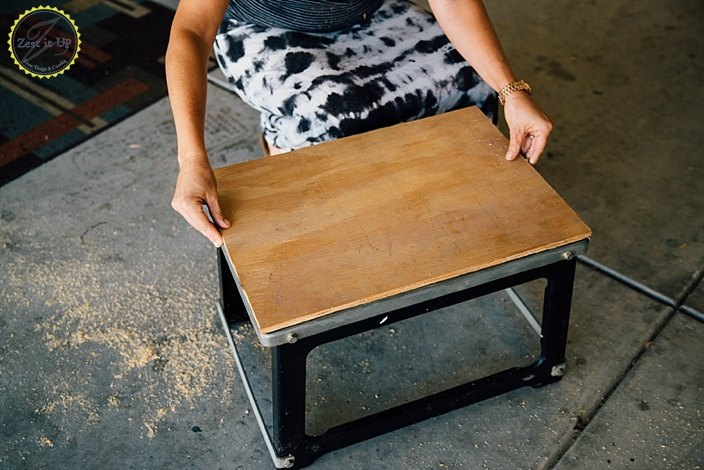 diy boho industrial stool, crafts, home improvement, outdoor living, tools, reupholster, woodworking projects