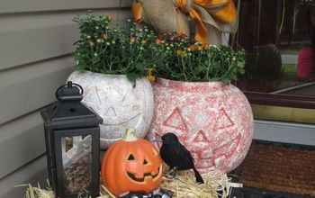 turning those plastic pumpkins into a look of stone made easy , concrete masonry, crafts, halloween decorations, outdoor living