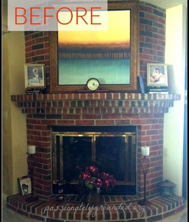 s 10 gorgeous ways to transform a brick fireplace without replacing it, concrete masonry, fireplaces mantels, The problem It s outdated and a stand out