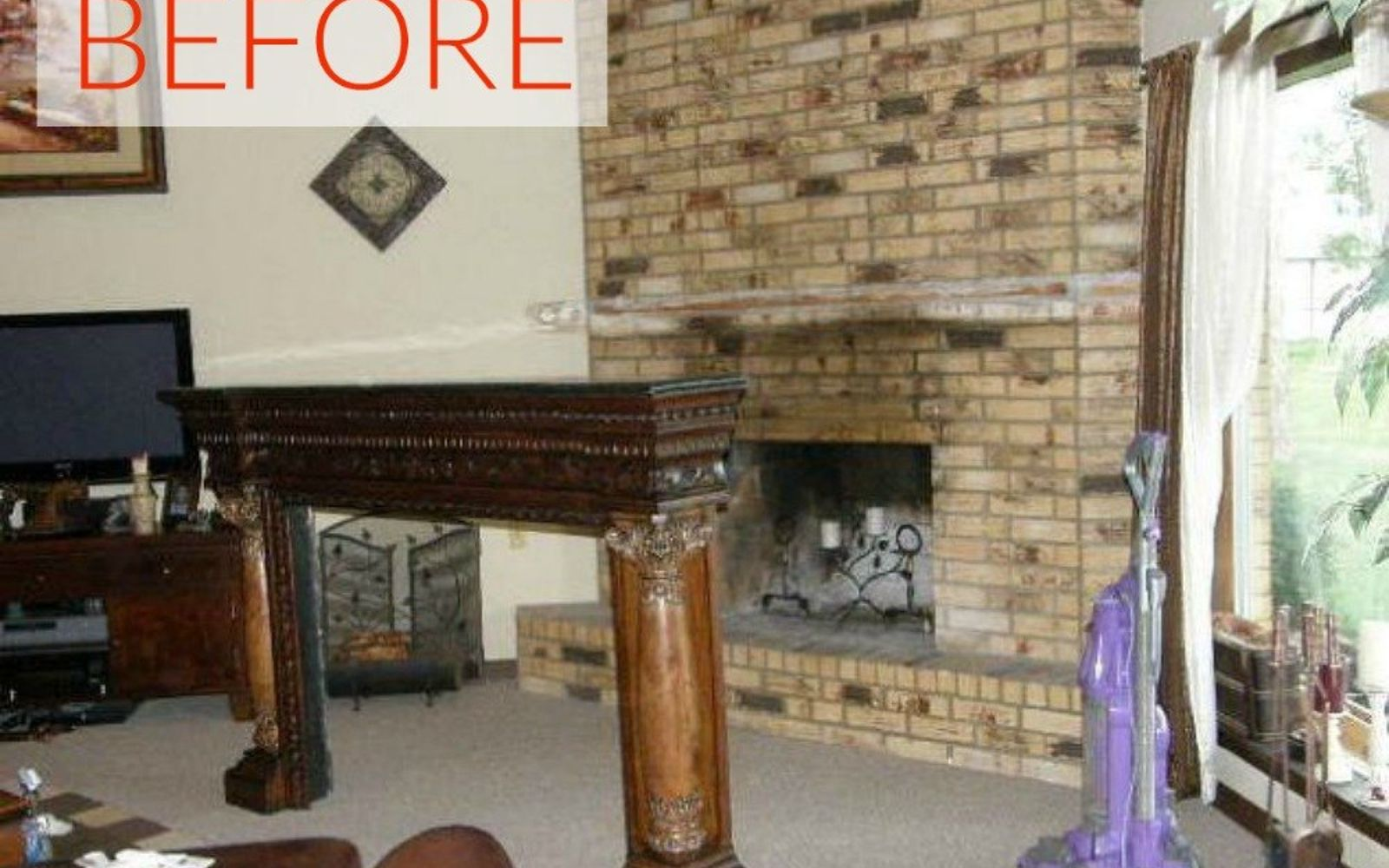 s 10 gorgeous ways to transform a brick fireplace without replacing it, concrete masonry, fireplaces mantels, The problem There s no mantel