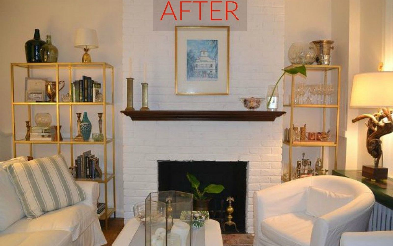 s 10 gorgeous ways to transform a brick fireplace without replacing it, concrete masonry, fireplaces mantels, The fix Match it to the color of the room
