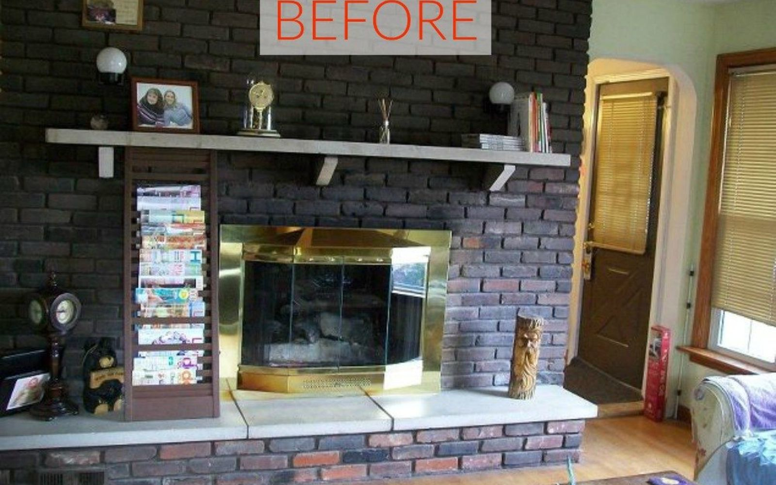 s 10 gorgeous ways to transform a brick fireplace without replacing it, concrete masonry, fireplaces mantels, The problem It looks old and boring