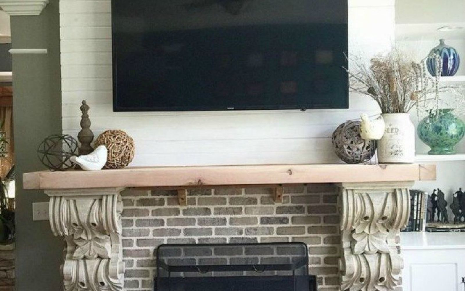 s 10 gorgeous ways to transform a brick fireplace without replacing it, concrete masonry, fireplaces mantels, The fix Add some faded brick and shiplap