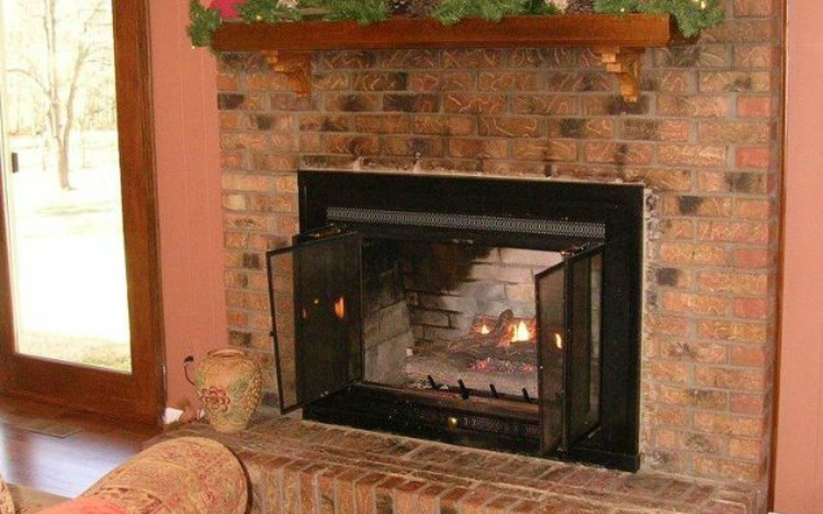 s 10 gorgeous ways to transform a brick fireplace without replacing it, concrete masonry, fireplaces mantels, The problem You want a farmhouse look
