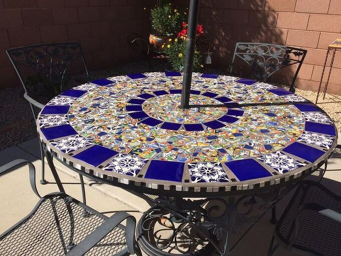 mosaic tile patio table, home decor, home improvement, outdoor furniture, outdoor living, painted furniture