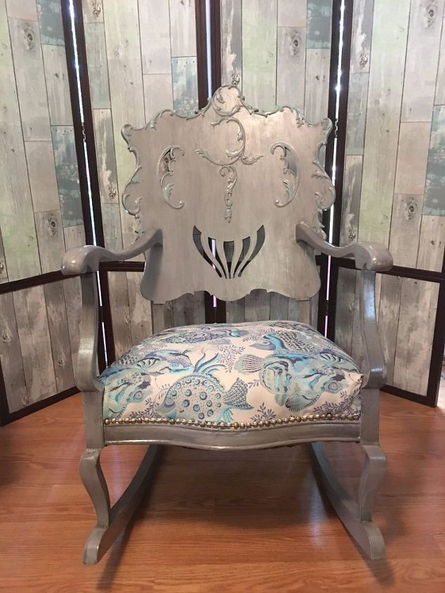 antique victorian rocking chair make over, architecture, home decor,  painted furniture, repurposing - How To Make An Old Rocking Chair Look Glam & Gorgeous Hometalk