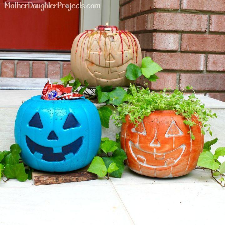 concrete pumpkins for fall decor, concrete masonry, home decor