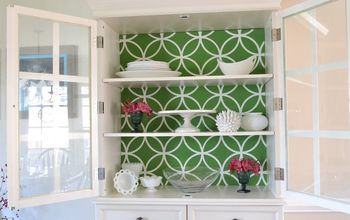 stenciled china cabinet, kitchen cabinets, kitchen design, painted furniture