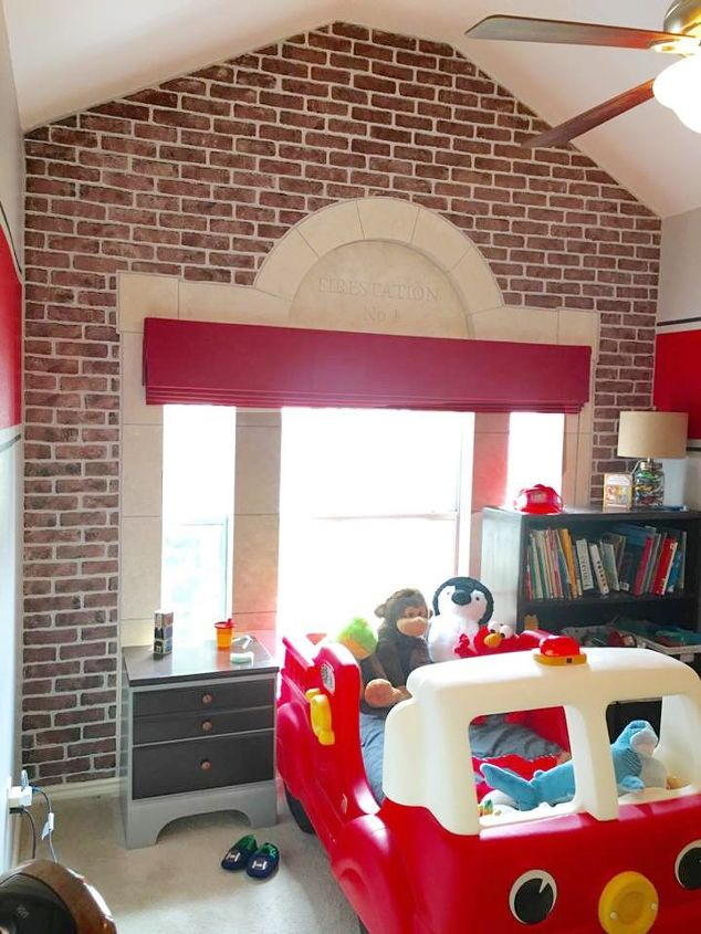 stenciling a fire truck themed bedroom, bedroom ideas, home improvement, painting, wall decor
