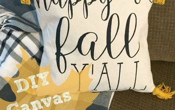diy happy fall y all canvas throw pillow, home decor, how to, reupholster