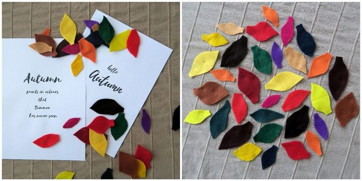 felt leaves autumn wreath, crafts, seasonal holiday decor, wreaths